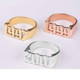 Personalized Gothic Date Ring