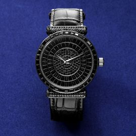 Baguette Cut Dial Watch with Genuine Leather Strap in Black Gold
