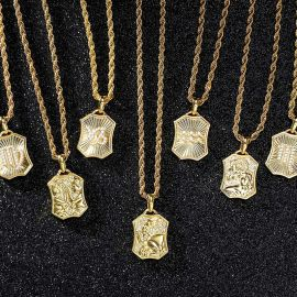 Iced Double-Side Twelve Constellations Pendant in Gold