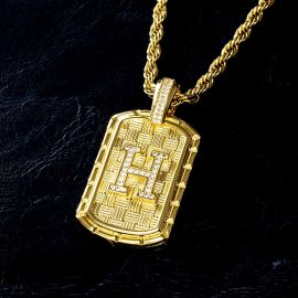 Iced A-Z Initial Letter Pendant in Gold