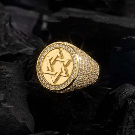 Iced Gold Star of David Ring