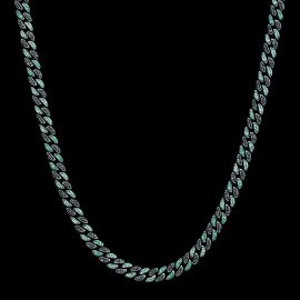 Iced 8mm Emerald & Black Stones Cuban Chain in Black Gold