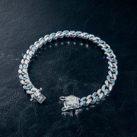 Iced 8mm Gradient Blue Cuban Bracelet in White Gold