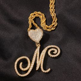 Iced Love Buckle Cursive Initial Letter Pendant