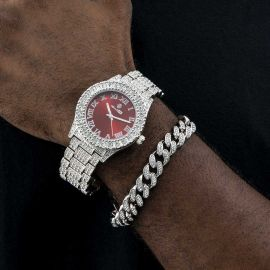 Iced Roman Numerals Watch and 12mm Cuban Bracelet Set in White Gold