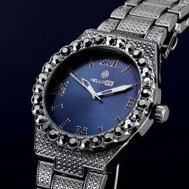 Iced Dark Grey Luminous Roman Numerals Men's Watch