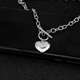 Women's Stainless Steel Heart Toggle Clasp Necklace