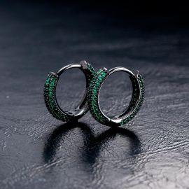 Iced Emerald Circle Hoop Earrings in Black Gold