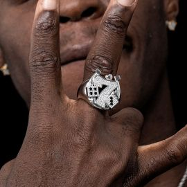 Iced 7 with Playing Card Suit and Dices Ring