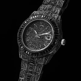 Iced Baguette Cut Roman Numerals Men's Watch in Black Gold