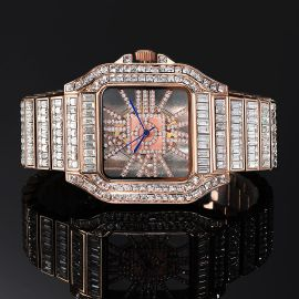 Full Baguette Cut Square Hollow Watch in Rose Gold