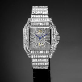 Full  Baguette Cut Square Hollow Watch in White Gold