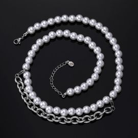 8mm Pearl with Cable Chain Necklace