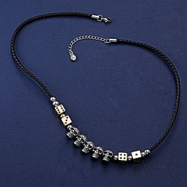 Skull Dice Leather Cord Necklace