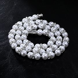 Iced Nut and Pearl  Necklace
