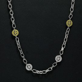 Iced Smile Face Cable Necklace