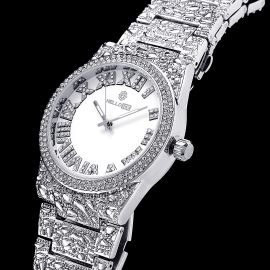 Iced Nugget Style Roman Numerals Watch in White Gold
