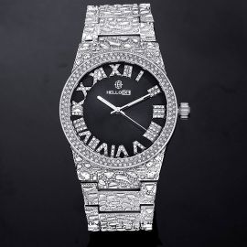 Iced Nugget Style Black Dial Roman Numerals Men's Watch in White Gold