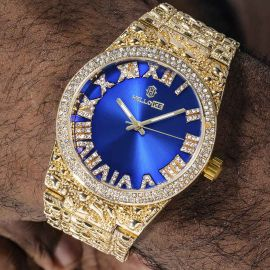 Iced Nugget Style Blue Dial Roman Numerals Watch in Gold
