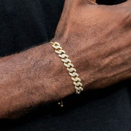 Adjustable Iced Cuban Chain Bracelet in Gold