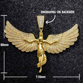 Iced Large Soaring Angel Pendant with Iced Cuban Chain Set in Gold