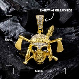 Iced Pirate Pendant with Tennis Chain Set in Gold