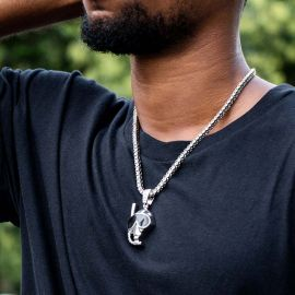 Diving Mask Pendant with Tennis Chain Set in White Gold