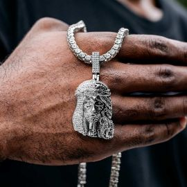 Iced Jesus Half Mechanical Face Pendant with Tennis Chain Set in White Gold