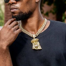 Iced Large Jesus Pendant with Iced Cuban Chain Set in Gold