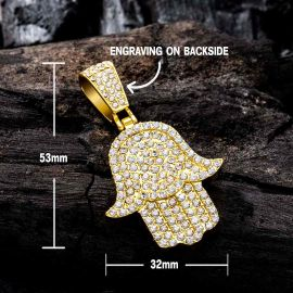 Iced Hamsa Pendant with Tennis Chain Set in Gold