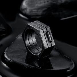 Vintage Hexagonal Folding Stainless Steel Ring
