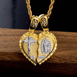 2Pcs Te Amo Heart Pendant in Gold