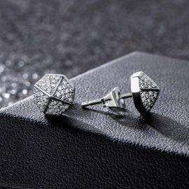 White Octagon Stud Earrings-8*8mm