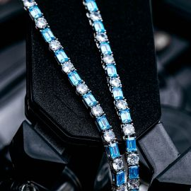 5mm Blue Baguette cut Stone Tennis Chain in White Gold