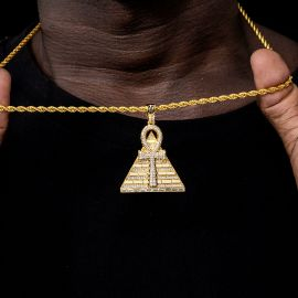 Iced Ankh Pyramid Pendant in Gold