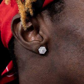 Hexagonal Stud Earrings in White Gold