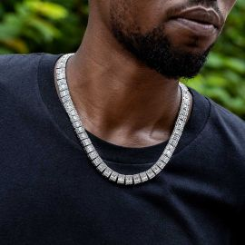 10mm Baguette Clustered Tennis Chain in White Gold