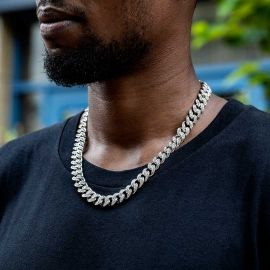 12mm Iced Miami Cuban Chain in White Gold