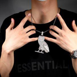 Baguette-Cut Stones Owl Pendant