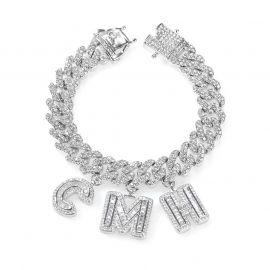 "Baguette Cut Custom Name 12mm 8"" Cuban Bracelet in White Gold"