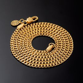 2.5mm Stainless Steel Cuban Chain in Gold