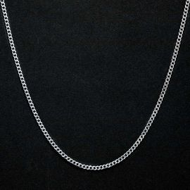 2.5mm Stainless Steel Cuban Chain in White Gold