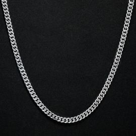 6mm Stainless Steel Cuban Chain in White Gold
