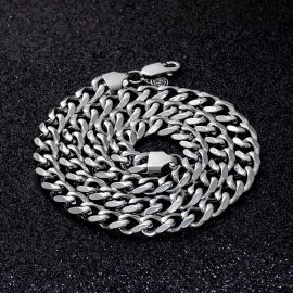 9mm Stainless Steel Cuban Chain in White Gold