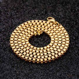 3mm Square Box Chain in Gold