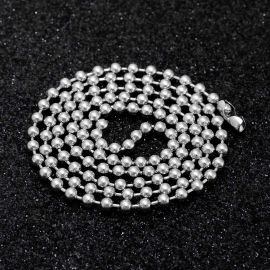 3mm Steel Bead Chain in White Gold