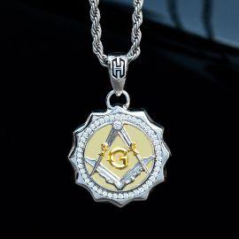 Iced Two-tone Masonic Pendant