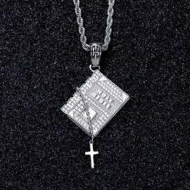 Iced Holy Bible Cross Pendant