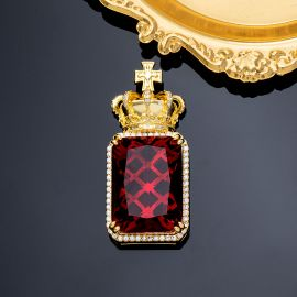 Iced Crown Ruby Cube Pendant