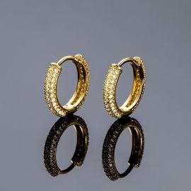Iced Circle Hoop Earrings in Gold